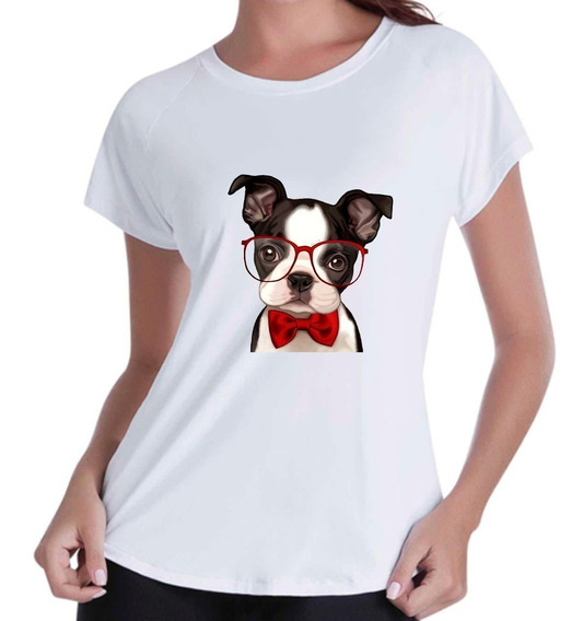 Camisa T-shirt Cachorro De Óculos E Laço Vermelhos