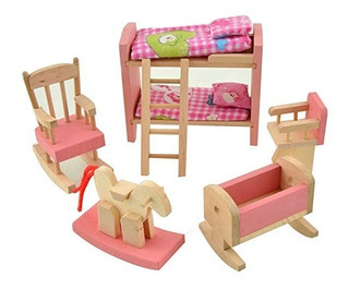 Dreams-mall Casa Muñeca Muebles Set Madera Juguete Bebé Kids