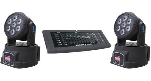 Combo De 2 Cabezales Moviles Lm70 Originales Big Dipper Mas Consola Dmx Navigator 3 Tecshow Pro