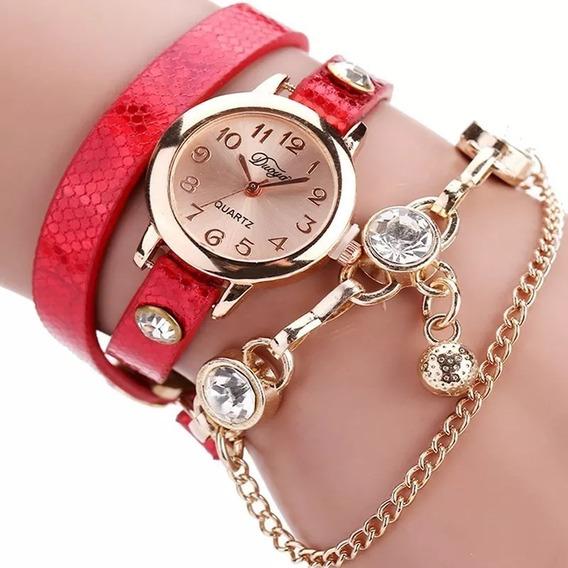 Relógio Feminino Quartz Dourado Pulseira Em Couro Lindo
