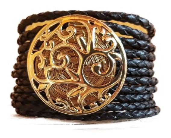 Bracelete Preto Capim Dourado - Banho De Ouro - Ecológico