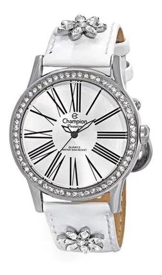 Relógio Champion Feminino Pulseira De Couro Branca Ca29519y