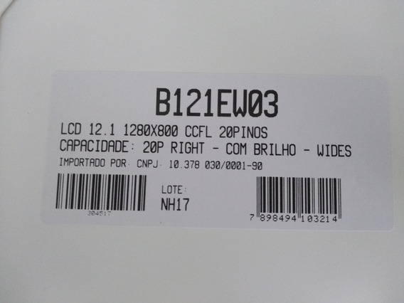 Lcd 12.1 1280x800 - 20 Pinos Right Com Brilho