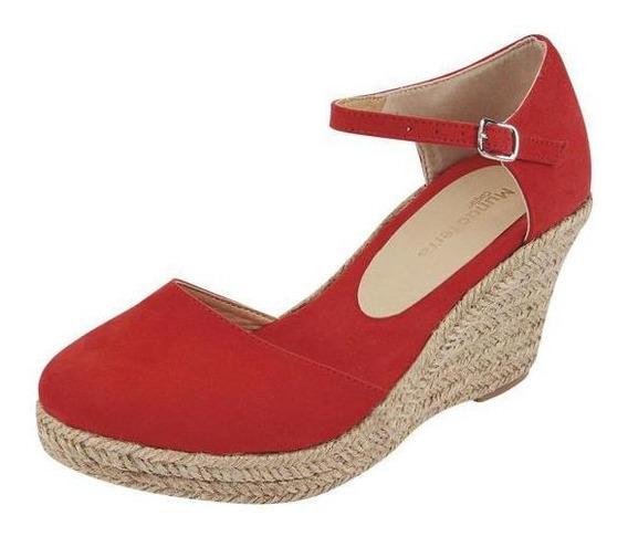 Zapatilla Con Plataforma Color Rojo Dama Mundo Terra 023405