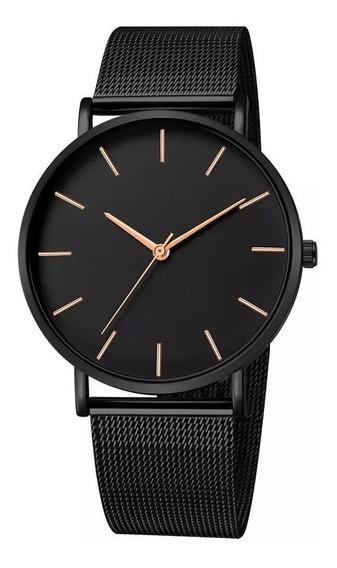 1 Relógio Unissex De Quartzo Fundo Preto Ponteiros Dourados