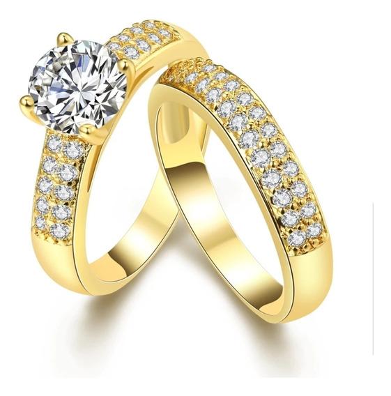 Anel Solitario Pedra Zirconia Com Aparador Banhada A Ouro