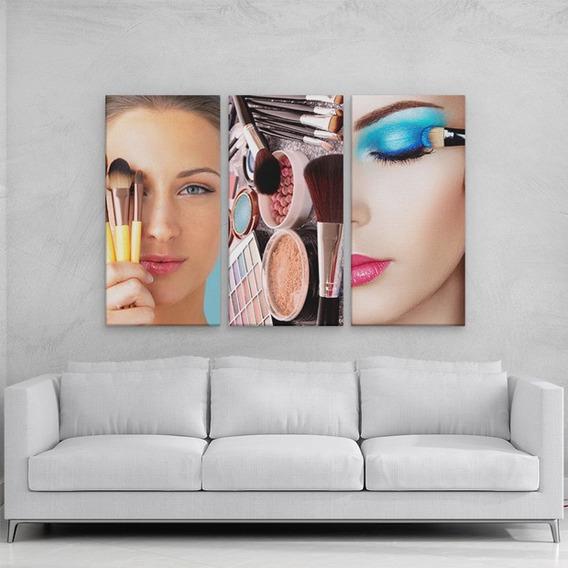 Conjunto 3 Quadros Decorativos Para Salão De Beleza 94x60cm