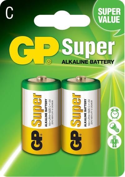 02 Pilhas Média C C/2 Alcalina Gp Super - 01 Cartela C/2 Un