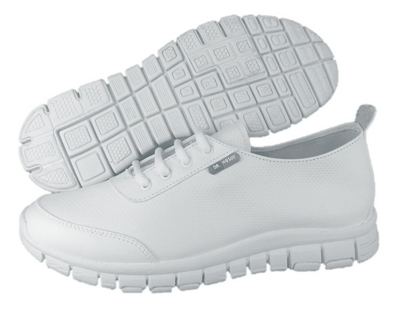 Zapato Tenis Blanco Piel Ultraligero Enfermer Dr Hosue 3017