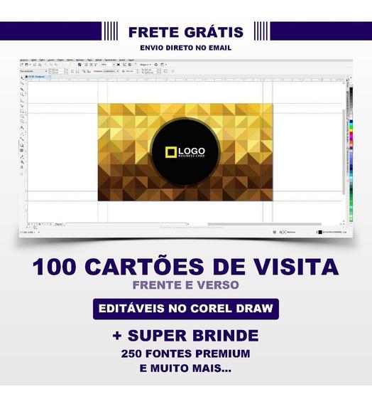 100 Cartões De Visita Editáveis No Corel + Bônus
