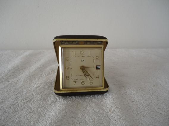 Antiguo Reloj De Viaje Elgin Con Fechador Funcionando