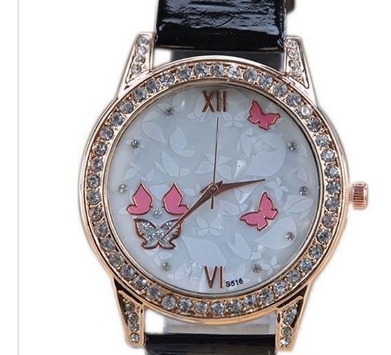 Relógio Feminino Borboleta Lindo Rosa Strass