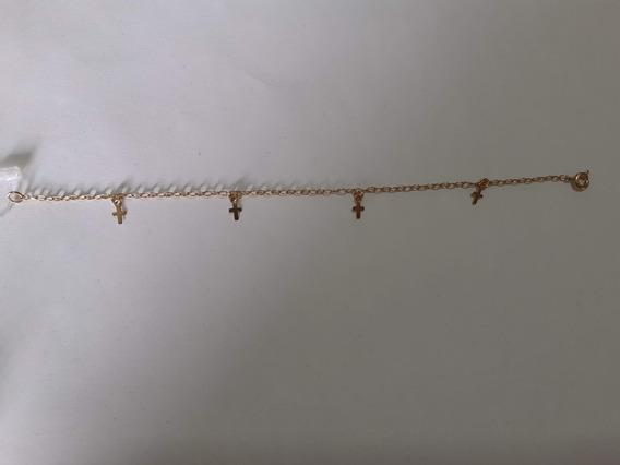 Pulseira Crucifixo Banhado A Ouro 18k 2 Anos De Garantia