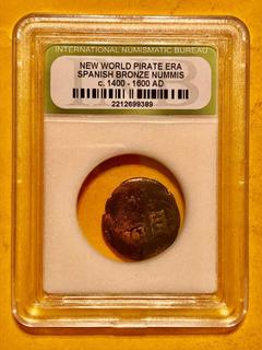 Moneda Antigua Certificada Maravedis Usada Por Piratas