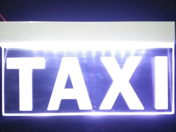 Letrero Anuncio Luminoso Led Taxi 25x12cm Blanco