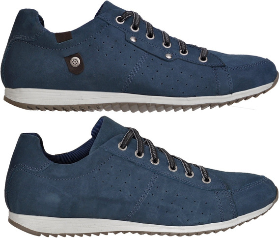 Sapatenis Tenis Masculino Casual Couro New Bal Azul Café Nt