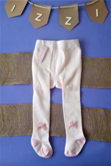 Media Pantalón Para Niñas Color Blanco Con Moño Rosa
