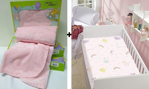 Kit C/ 2 Jolitex Cobertor Raschel Relevo + Manta Bebe Menina