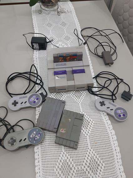 Super Nintendo Completo + 3 Controles 2 Originais +3 Fitas.