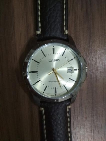 Relógio Casio Mtp-v004sg-9a Couro