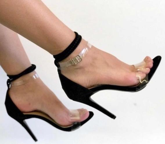 Sandália Salto Fino Alto Vinil Tira Transparente Festa Moda