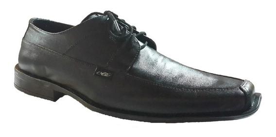 Zapato Punta Fina Cuero Con Cordon (3002)