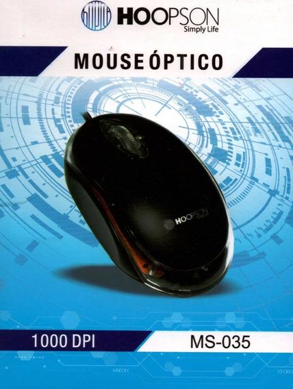 Kit 20 Mouse Óptico Usb 1000 Dpi Preto Ms-035 Atacado