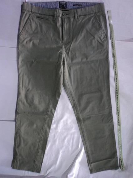Pull & Bear Pantalon Original Talla 34 Comfort Slim Verde
