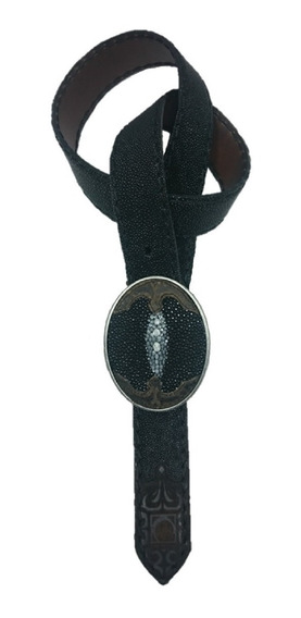 Cinturón Cuadra Piel De Mantarraya Y Res Color Negro