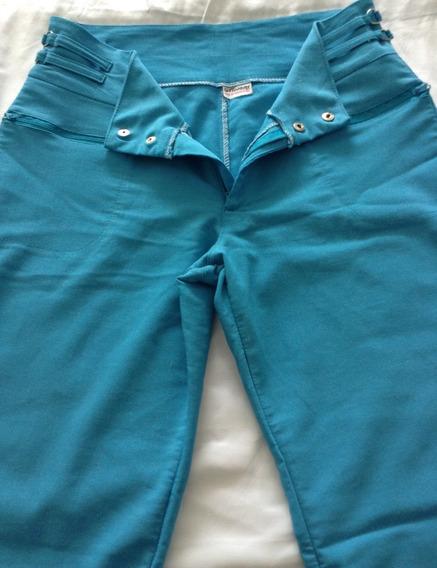 Pantalón Azul Turquesa Elegante Talla Xl Pequeño Cortetubit