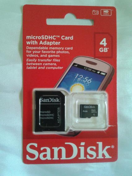 Cartão De Memória Micro Sd Sdhc 4gb Sandisk Com Adaptador Sd