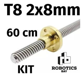 Kit Tornillo + Tuerca Thsl T8 2x8 600mm 60cm Varilla Acme