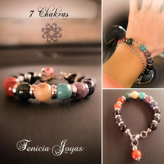 Pulsera 7 Chakras N°10 (piedras Semipreciosas Y Acero Quirúr