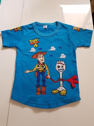 ,remera De Algodon Estampada Toy Story Niños Celeste
