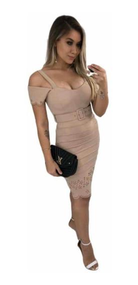 Vestido Tubinho Com Bojo E Cinto Saia Drapeada Corte A Laser