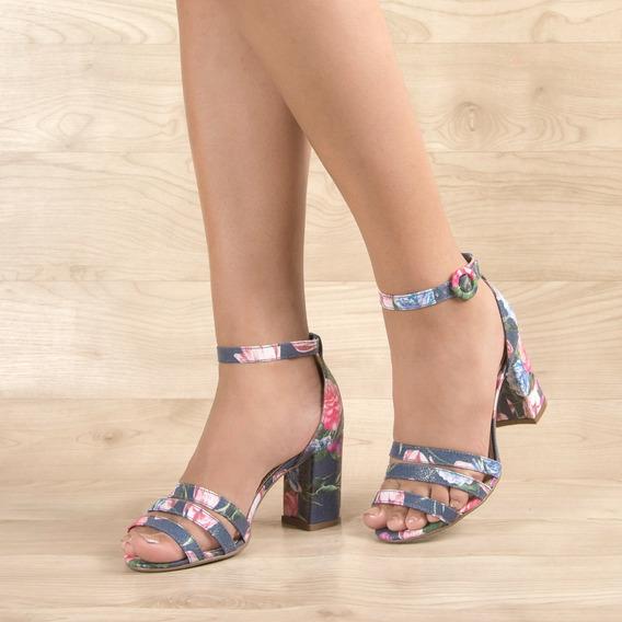 Sandália Salto Médio Grosso Estampada Floral Azul Jeans