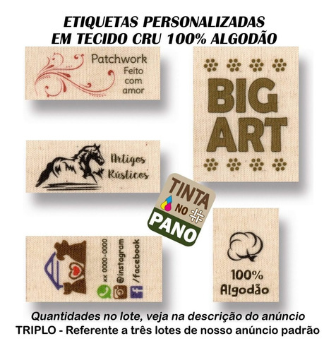 Etiquetas Personalizadas Tecid Algodão Cru Roupa Artesanato.