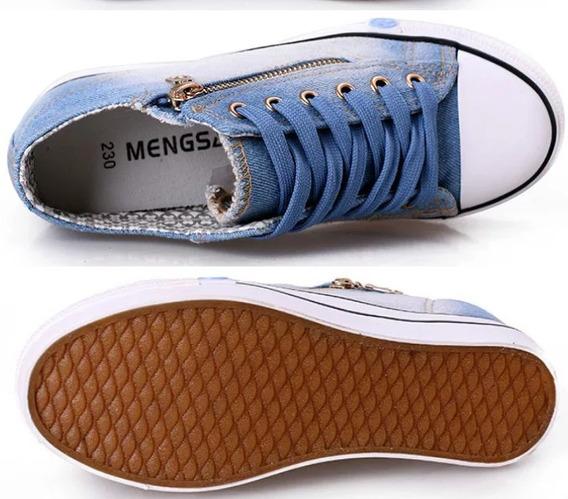 Tenis Plataforma Jeans Feminino Com Ziper - Pronta Entrega