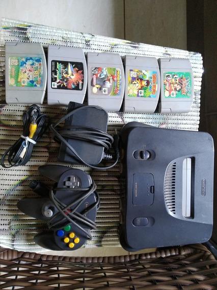 Nintendo 64 Com Um Controle E 5 Jogos