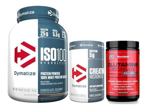 Whey Protein Iso 100 3lb E Crea Dymatize+glutamine Musclemed