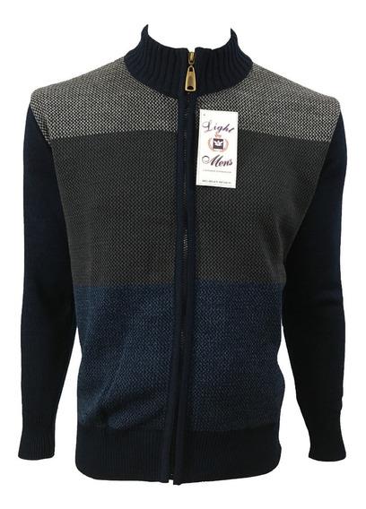Suéter Marino Con Gris Y Azul Con Cierre Completo