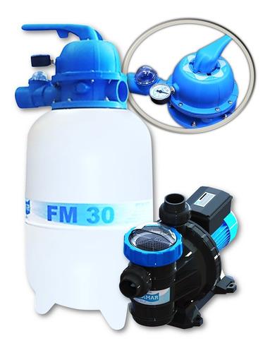 Filtro Fm30 + Bomba 1/4cv Para Piscinas De Até 28 Mil Litros
