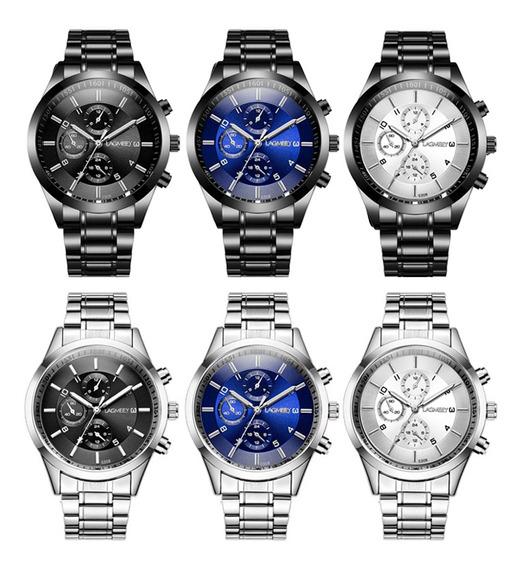 Homens Cinto De Aço Inoxidável Esportes Relógio Quartzo