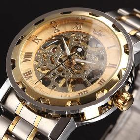 Relógio Steampunk Skeleton Mecânico Aço Inoxidável Dourado