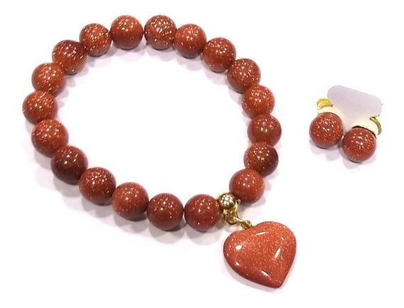 Pulseira + Brincos C Pedra Do Sol Goldstone Bons Fluídos G10