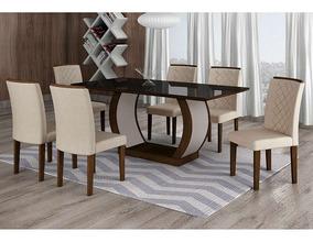 Conjunto De Mesa De Jantar Com 6 Cadeiras Maia Ii Veludo ...