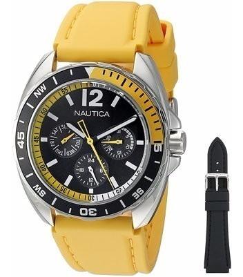 Relógio Masculino Nautica Nad11522g Com 2 Pulseiras