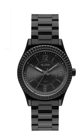 Relógio Euro Feminino Preto Aro Spikes Original C/ Nfe Eu2035yqy/4p - Tamanho Médio - 5atm