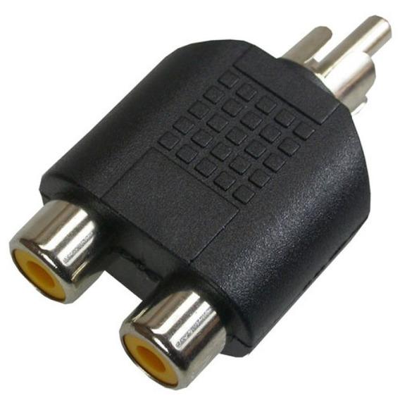 Plug Adaptador Spliter Divisor 2rca Femea 1 Rca Macho