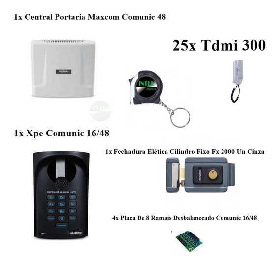 Kit Interfone Portaria Coletivo Comunic 25 Pontos Intelbras